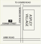 Map to Ferrier St, Aspley on the north side of Brisbane